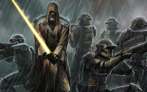 Картинка дождь, меч, Star Wars, джедай, клоны