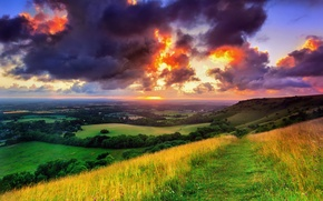 Картинка зелень, поле, небо, трава, солнце, облака, деревья, пейзаж, тучи, природа, восход, Англия, утро, тропинка, Западный ...