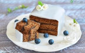 Обои торт, глазурь, голубика
