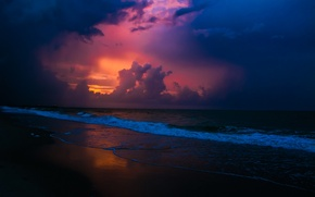 Обои пейзаж, красота, закат, небо, море
