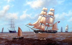 Картинка море, волны, небо, облака, лодка, парусник, корабли, картина, J. Steven Dews