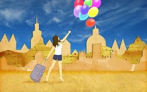 Картинка песок, лето, небо, девушка, шарики, отдых, коллаж, шорты, здания, отпуск, чемодан, силуэты