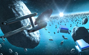 Картинка spaceships, asteroids, the ice forests of delta vega