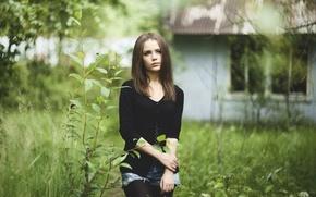 Картинка девушка, природа, размытый фон, Xenia Kokoreva
