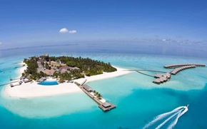 Картинка океан, остров, Мальдивы, курорт