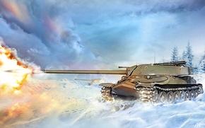 Картинка зима, снег, огонь, пламя, рисунок, выстрел, арт, танк, поле боя, тяжелый, ИС-7, советский, World of ...