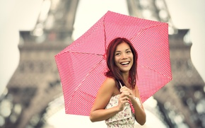 Картинка girl, Paris, Asian, umbrella, smile