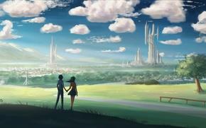Картинка дорога, девушка, пейзаж, city, город, поля, арт, пара, парень, landscape, art, влюблённые, Jonathan Dufresne, Джонатан …
