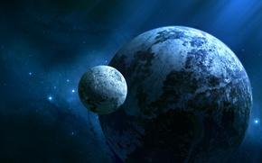 Картинка холод, звезды, планета, спутник, JoeJesus