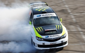 Картинка Subaru, impreza, wrxsti, monster, energy, drift, race, rally, автомобиль, субару