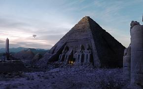 Картинка огонь, Пирамида, дирижабль, Египет