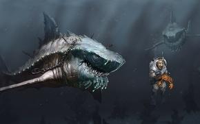 Обои море, человек, краб, хищники, арт, цепь, акулы, под водой, голод, крюк, акваланг, мегалодон