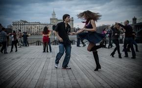Картинка город, Москва, танцы, пары
