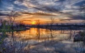Обои весна, разлив, деревья, закат, солнце