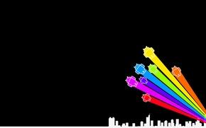 Картинка город, ANDROID, Разноцветные роботы