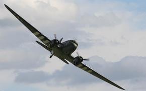 Картинка aircraft, war, art, airplane, aviation, ww2, dogfight, parachuters, c - 47