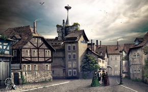 Картинка город, Германия, vintage, Graben Langensalza