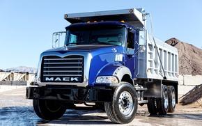Картинка синий, кабина, кузов, самосвал, 6x4 Dump Truck, Mack Granite, тяжёлый грузовик