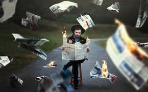 Обои дорога, газеты, человек