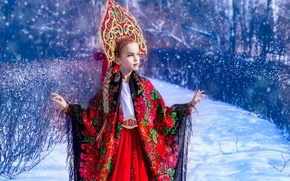 Картинка зима, снег, девочка, наряд, платок, этно, кокошник