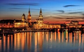 Обои мост, Германия, дома, Дрезден, огни, ночь, небо, река