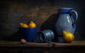 Картинка орех, кружка, кувшин, груши, Dutch style