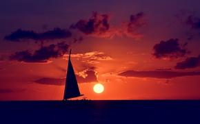 Картинка море, небо, солнце, закат, тучи, природа, настроение, парусник