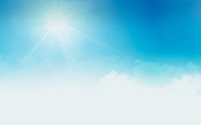 Картинка белый, небо, солнце, облака, пейзаж, фон, widescreen, обои, голубое, wallpaper, широкоформатные, background, полноэкранные, HD wallpapers, …