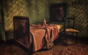 Картинка комната, гитара, кровать