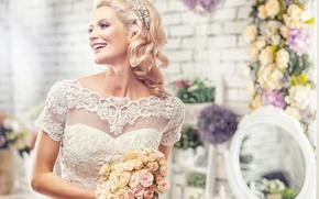 Картинка радость, букет, невеста, свадьба, wedding