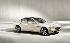 Обои car, машина, авто, белый, Maserati, Quattroporte