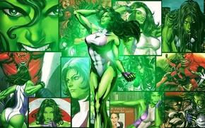 Картинка белый, фиолетовый, зеленый, волосы, костюм, перчатки, Hulk, MARVEL, Red Hulk, Женщина-Халк, She-hulk, Jennifer Walters, Дженнифер ...