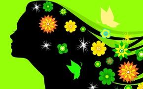 Обои цветы, девушка, силуэт, ресницы, зеленый фон, волосы