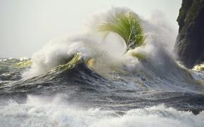 Обои брызги, скалы, шторм, волны, море