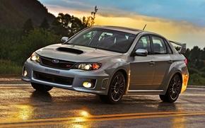 Картинка дорога, небо, блики, WRX, седан, STI, Субару, Импреза, передок, Subaru Impreza