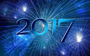 Обои синий, голубой, ночь, 2017, новый год, огни, салют, фейерверк, новый 2017 год, фон, праздник, цифры, ...