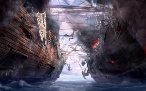 Картинка море, корабли, арт, битва, Dragon Eternity, абордаж, драконы вечности, морское сражение