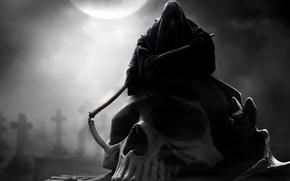Картинка смерть, луна, череп, капюшон, коса, мрачно
