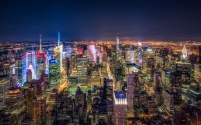 Обои огни, мегаполис, небоскребы, ночь, панорама, Нью-Йорк, США