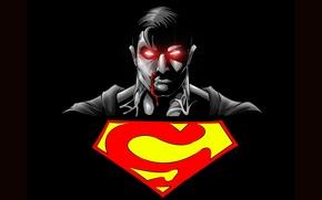 Картинка знак, логотип, символ, черный фон, супермен, супергерой, Superman