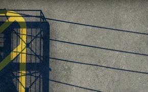 Картинка асфальт, мост, провода, полоса, тень, nuke