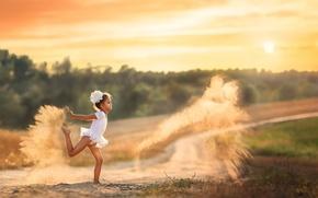 Картинка песок, пыль, девочка, Dancing with dust