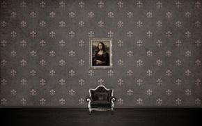 Картинка узоры, картина, текстура, кресло, mona lisa, texture, patterns, 2560x1600, picture, armchair