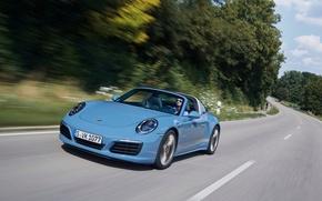 Картинка дорога, авто, скорость, 911, Porsche, порше, Targa 4S