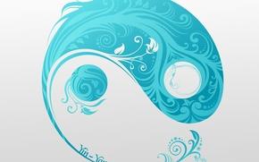 Картинка символ, серый фон, ин-янь, Yin-yang smile