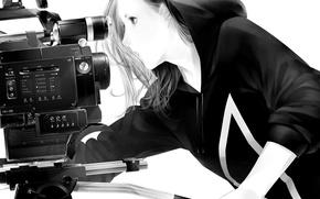 Картинка девушка, камера, арт, капюшон, Sawasawa