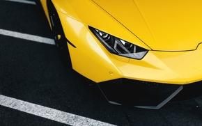 Картинка Lamborghini, Front, Yellow, Supercar, Wheels, Huracan, LP610-4