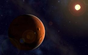 Картинка солнце, космос, звезды, красота, марс