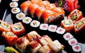 Обои цветы, лимон, lemon, flowers, rolls, sushi, суши, роллы, японская кухня, имбирь, оформление, decorations, ginger, Japanese ...