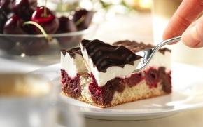Обои десерт, вилка, глазурь, тарелка, еда, пирожное, крем, вишня
